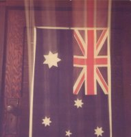 Australian flag on back of door, Cremorne, 30 Nov 1981